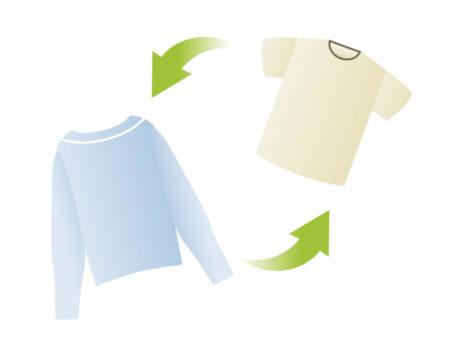 洋服や靴を交換することにより保存スペースを減らしています。