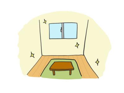 ミニマリストで一人暮らしなので6畳の部屋にはテレビと座椅子、テーブルだけです。